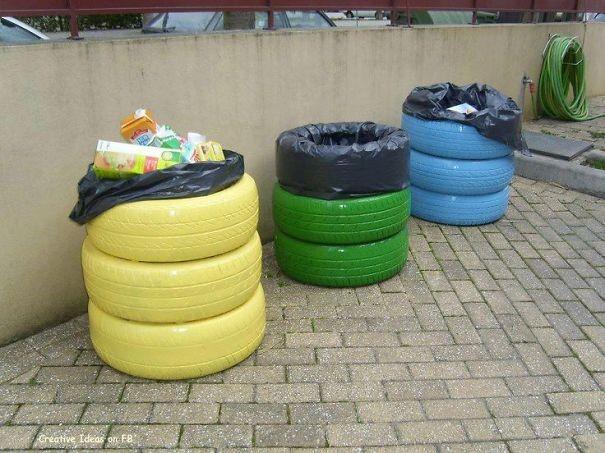Pneumatiky odpadkový koš