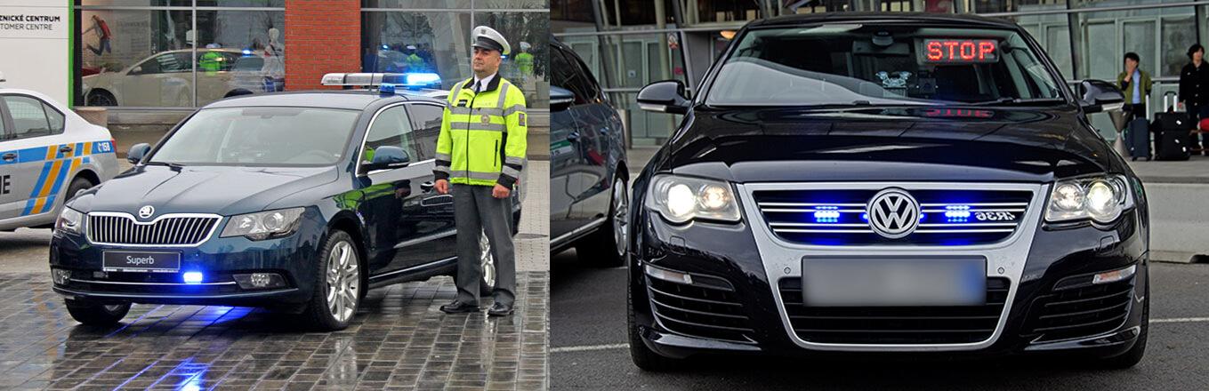Policejní Škoda Superb a policejní Volkswagen Passat R36