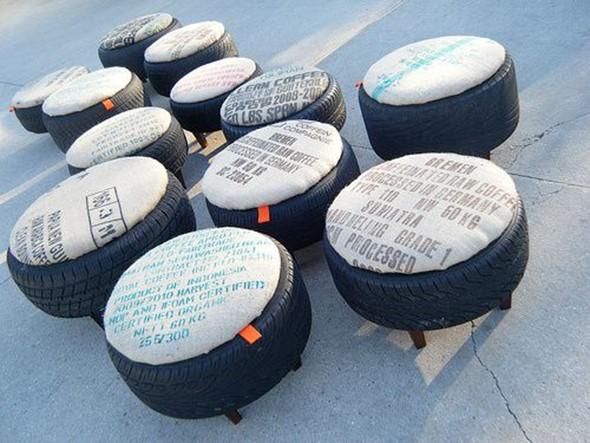 Židličky vyrobené z pneumatik
