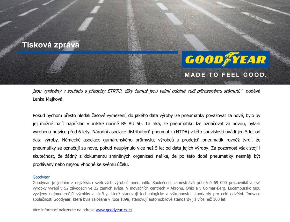 Goodyear tisková zpráva o stárnutí pneu